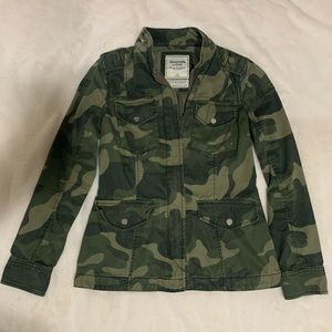Abercrombie & Fitch Distressed Green Camo Jacket